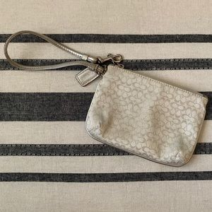 Coach Wristlet White with Silver Lettering